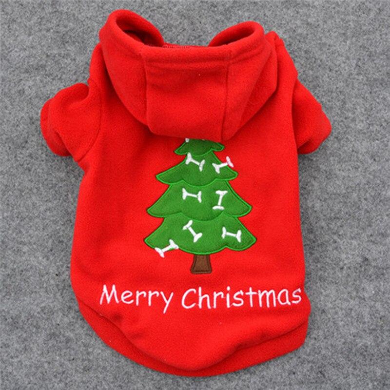 Red Christmas Tree Pet dog Hoodie Coat Winter warm fleece puppy Santa Claus Costume Outwea