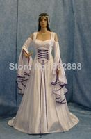 2014 New Arrival Direct Selling Natural Satin Handfasting Medieval Dress Renaissance Fantasy Gown