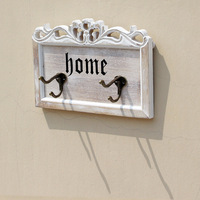 1PC Retro Creative Rustic Finish Home Iron Wooden Board Wall Decorative Hook Key Hat Hanger Home
