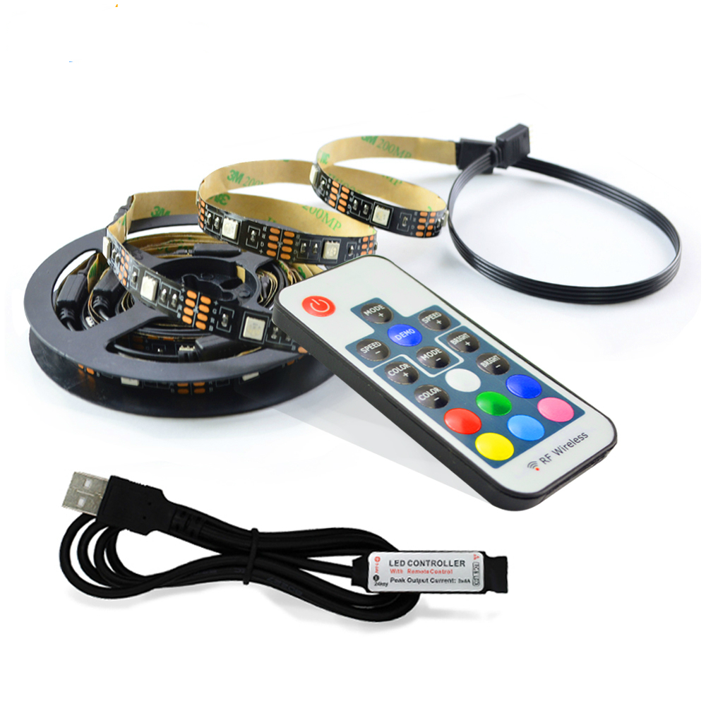 DC 5V Flexible LED RGB light Tape 0.5M 2M USB Magic Light strip Ribbon HDTV Screen Background Flash lamp RF Controller SMD5050