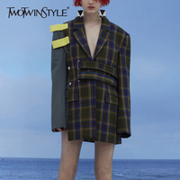 TWOTWINSTYLE Patchwork Plaid Female Jacket For Women S Blazer Coat Long Sleeve Top Autumn Costume Clothes