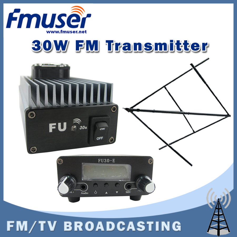 Free shipping FMUSER FU-30A 30W Professional FM power amplifier transmitter 85 -110MHz + CP100 Circular Polarized Antenna free shipping fmuser st 05c 0 1w 0 5w fm transmitter antenna power supply kit