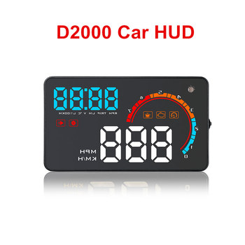 D2000 Car HUD Head Up Display OBD2 Windshield Projector LED Display Over Speed Car Alarm RPM OBDII Speed Warn Fuel Consumption фото