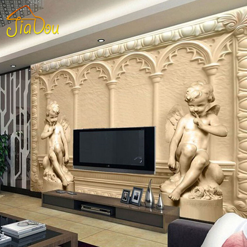 Custom 3D Mural Wallpaper European Style 3D Stereoscopic Angel Living Room TV Sofa Backdrop Bedroom 3D Photo Wallpaper Roll free shipping 3d personality wallpaper sofa tv coffee house bar backdrop living room bedroom bathrom wallpaper mural