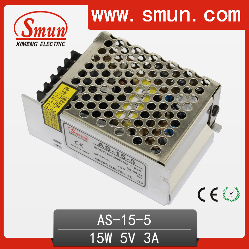 SMUN AS-15-5 15W 5V 3A Switching Power Supply SMPS For LED Lighting With 2 Years Warranty low price for mini size s 15 5 switching power supply 15w 5vdc 3a 2 warranty psu led driver