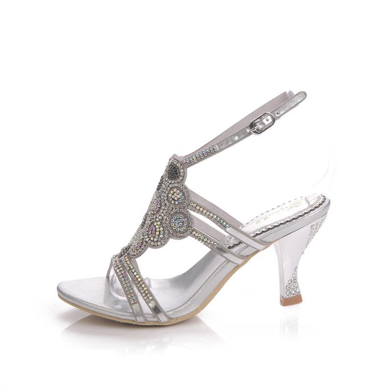 Sandales Mariage De Stiletto sparrow D'été Cristal Occasionnel Haut Talons D'argent Diamant Femmes G Argent Chaussures 2019 Nouveau P6xI0n0