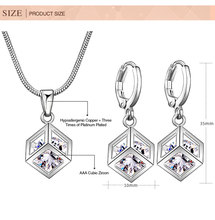 Fashion Lattice Cube Jewelry Sets for Women Silver Plated 8mm Cubic Zircon Necklace Hoop Earrings  Bridal Jewelry Sets Wholesale