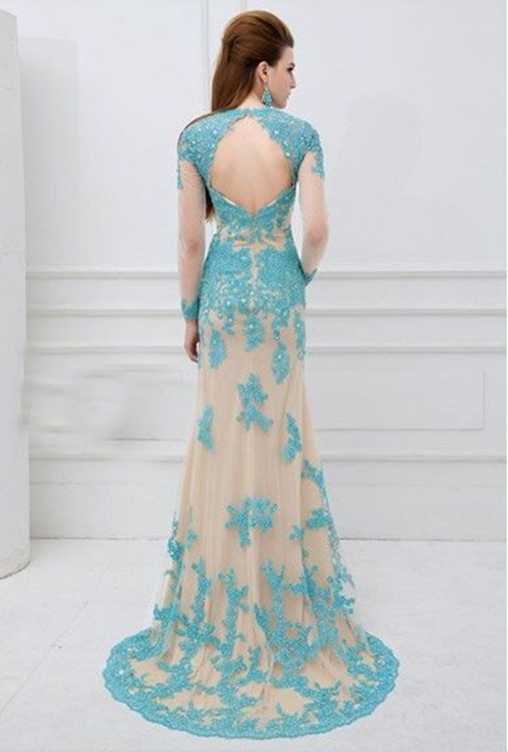 Turquoise Lace Long Sleeves Pageant Prom Bridal Party Gown Wedding Dress In Evening Dresses From Weddings Events On Aliexpress Alibaba Group