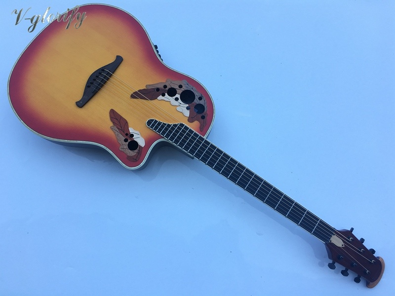 round back ovation model electric acoustic guitar with free hardcase