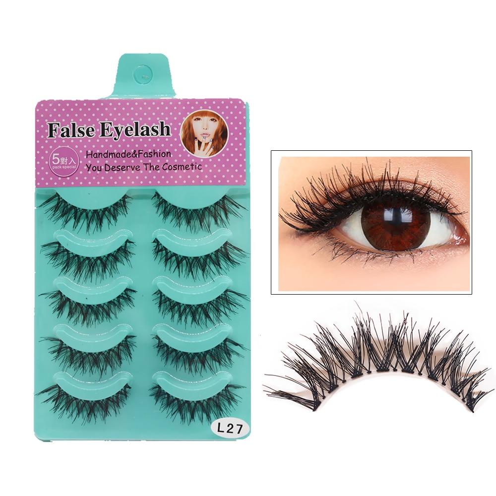 Hot Sales Good Quality Eyebeauty 5 Pairs Messy Natural Cross False Eyelashes Make Up False Eyelashes