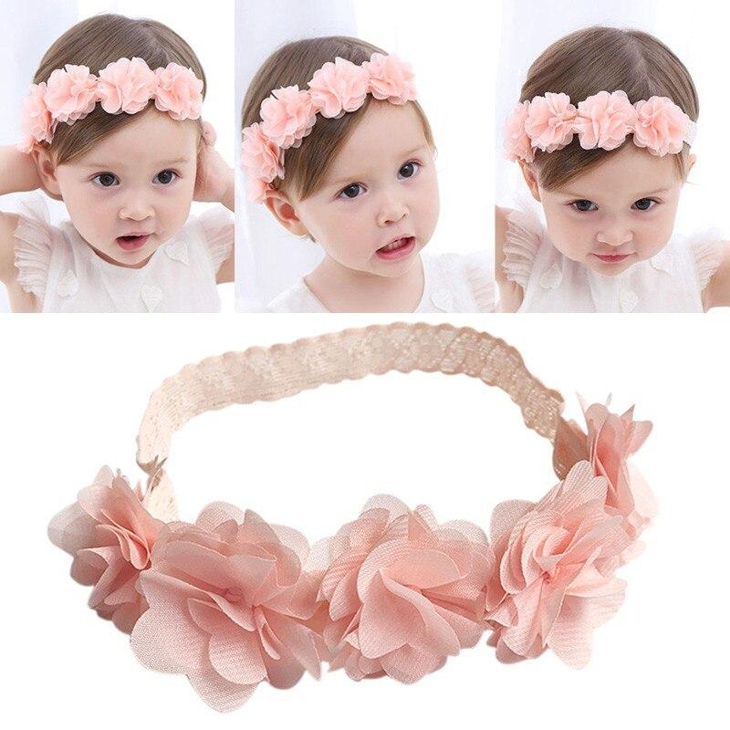 Baby Headband Flower Pink Ribbon Hair Bands Handmade DIY Headwear Hair Accessories For Children Newborn Toddler Fashion