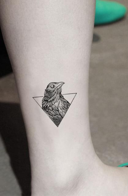 85a49d2b65bb5 Waterproof Temporary Fake Tattoo Stickers Geometric Triangle Birds Design  Body Art Make Up Tools