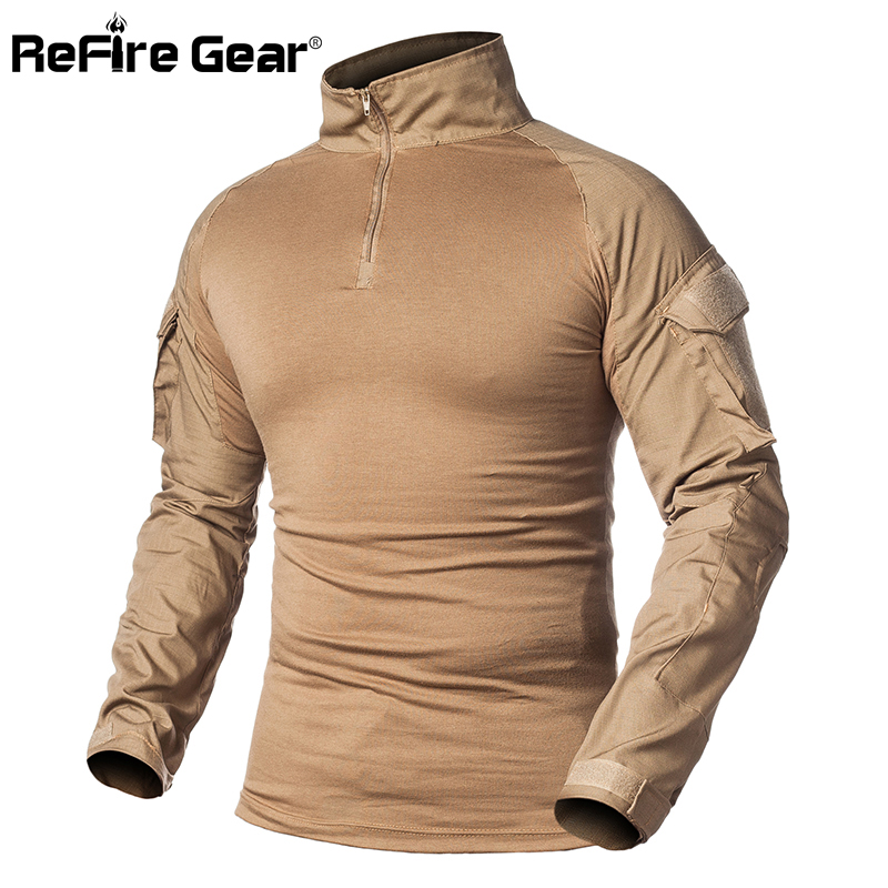 ReFire Gear Men Military Tactical T-shirt Long Sleeve SWAT Soldiers Combat T Shirt Airsoft Clothes Man's Camouflage Army Shirts
