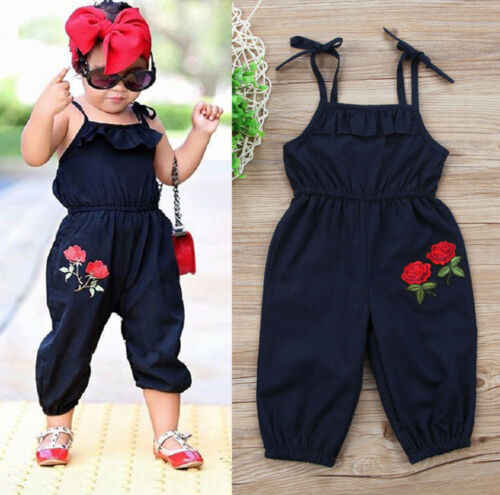 UK Baby Girl Solid Romper Kids Suspender Pants Toddler Jumpsuit Playsuit Sunsuit