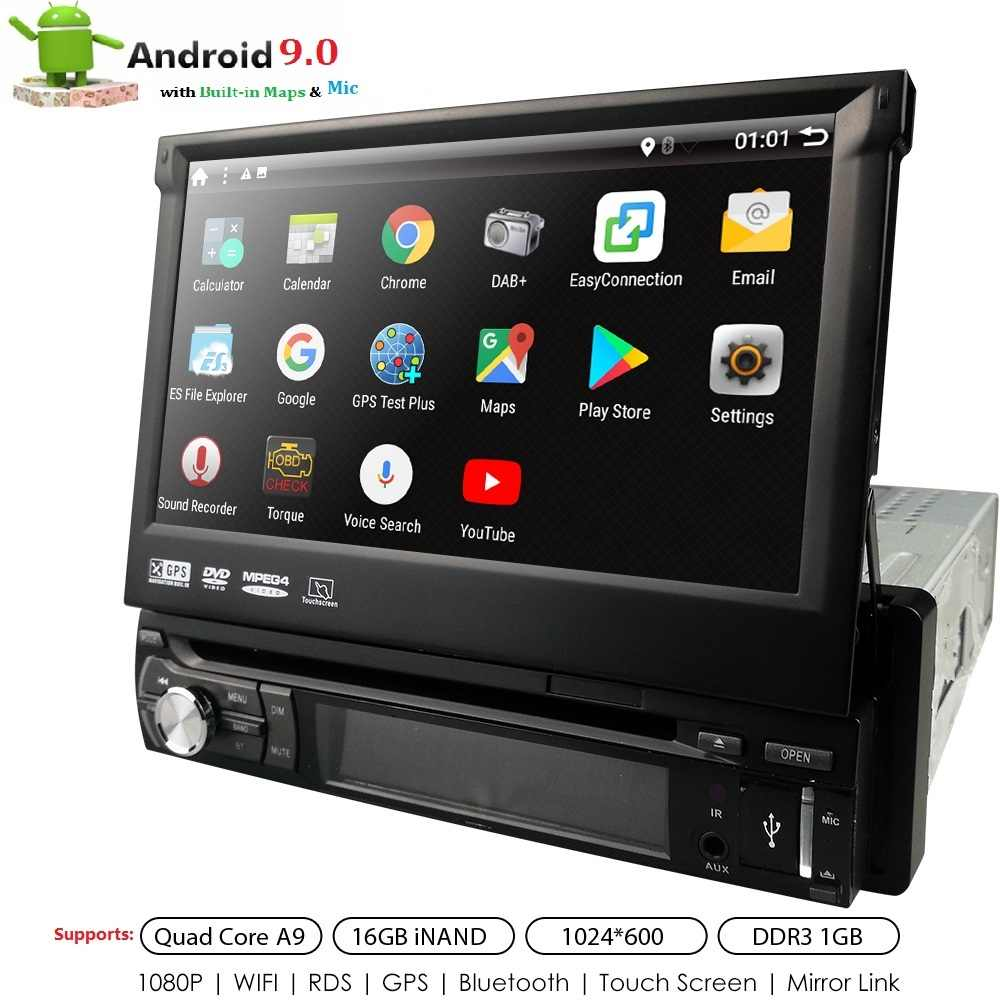 Universal 1 Din Android 9.0 Quad Core Car DVD Player GPS WIFI Bt Radio Bt 1GB RAM 32GB SD 16GB ROM 4G LTE SWC RDS CD