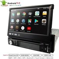 유니버설 1 din 안 드 로이드 9.0 쿼드 코어 자동차 DVD 플레이어 GPS Wifi BT 라디오 BT 1GB RAM 32GB SD 16GB ROM 4G SIM LTE 네트워크 SWC RDS CD