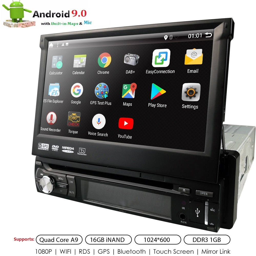 Universal 1 din Android 9.0 Quad Core Car DVD player GPS Wifi BT Radio BT 1GB RAM 32GB SD 16GB ROM 4G SIM LTE Network SWC RDS CD image