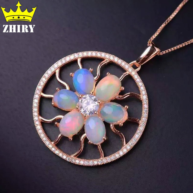 Natural Fire Opal Necklace Pendant Genuine Gems Color Stone 925 Sterling Silver Women Fantastic Jewelry Gold Plated