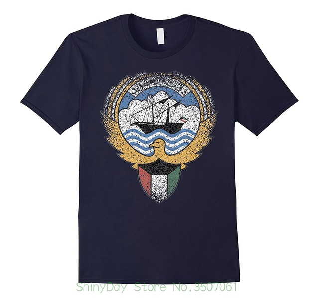 מודפסת חולצות לגברים חולצות O-צוואר שרוול קצר קיץ פנסי Twear כווית מעיל של נשק T סמל לאומי חולצת טי