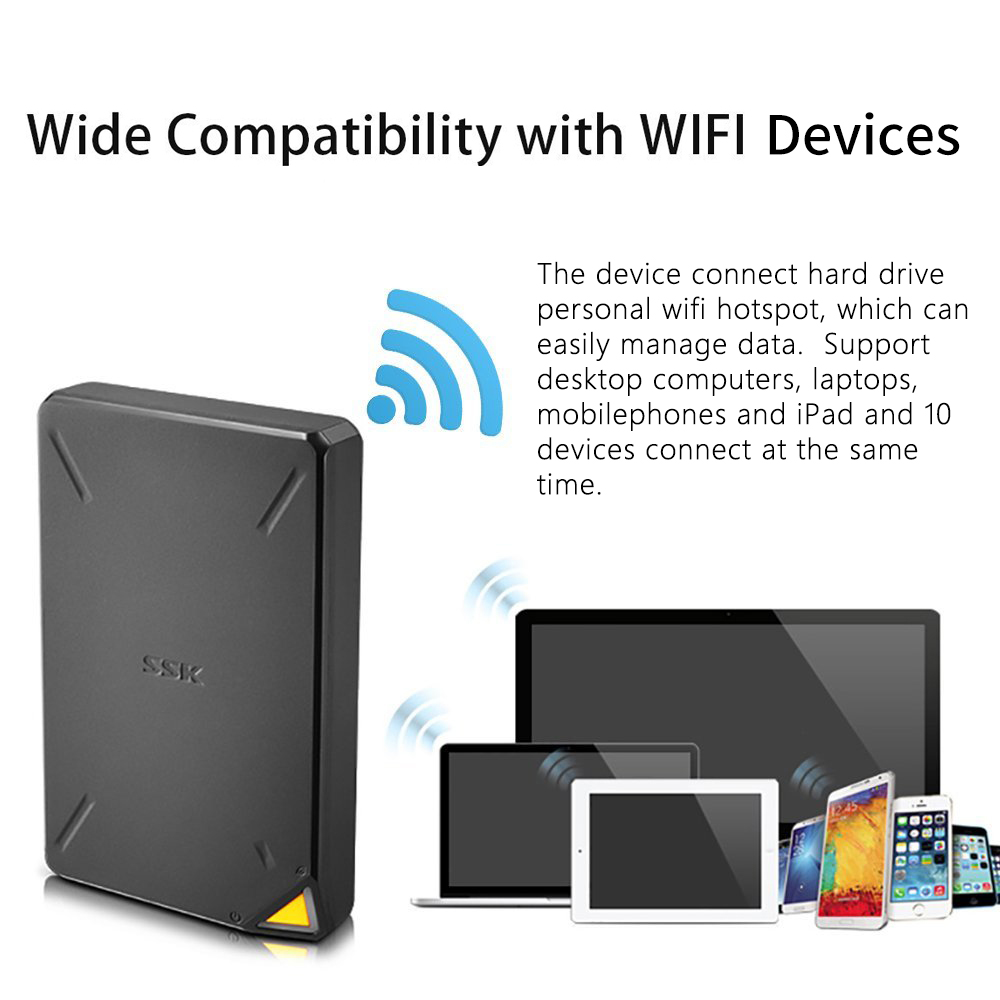 Image 5 - SSK Portable Wireless External Hard Drive  Smart Hard Disk 1TB Cloud Storage WiFi Remote Access HDD Case for Tablet Laptop USB-in External Hard Drives from Computer & Office