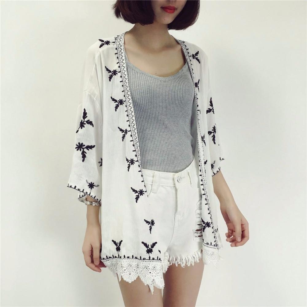TingYiLi Embroidery Kimono Cardigan Women Casual Loose Vintage ...