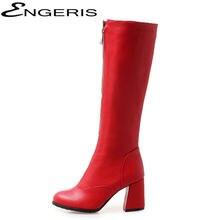 ENGERIS Doux PU En Cuir Genou Haute Bottes pour Femmes Noir Rouge Talons  hauts Cuissardes Bottes 44962b4accbf