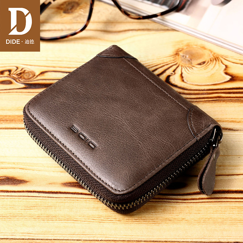DIDE 100% Genuine Leather Wallet Men Wallets Vintage Short Coin Purse Small Wallet Cowhide Card Holder Pocket Purse DQ657 men wallets 2017 vintage 100% genuine leather wallet cowhide clutch bag men s card holder purse with coin pocket