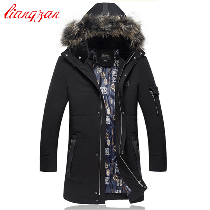 Men Down Coats Fur Hooded Detachable Winter Warm Snow Thick Fashion Overcoats Brand Medium Long Casual Down Cotton Parkas F2335 men warm coats winter snow thick hooded slim fit down parka brand design casual cotton fashion padded outwear sl e437