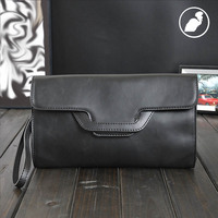 ETONWEAG New 2017 Women Famous Brands Cow Leather Black Zipper Vintage Wallets Envelope Day Clutch Bags