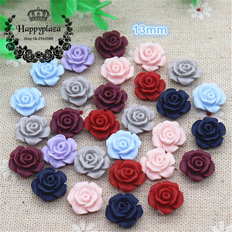 50PCS Mix Colors Cute Antique Color Resin Rose Flowers Flatback Cabochon DIY Jewelry/Craft Scrapbooking,13mm