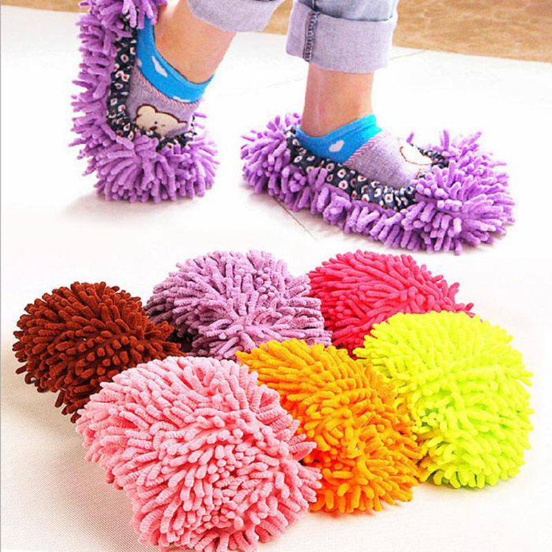 100pair/lot Lazy Shoes Cover Microfibe Dust Cleaner Grazing Slippers House Bathroom Floor Cleaning Mop Cleaner Slipper woolen monster house shoes slippers color assorted pair