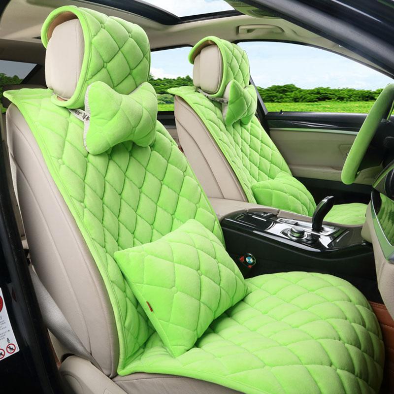 Mode hiver peluche courte coton diamant forme universel siège d'auto couverture ensemble pour Teana Qashqai Lingpai civic etc. dans Automobiles Siège Couvre de Automobiles et Motos