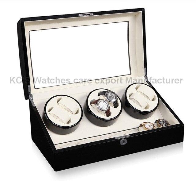 Calidad de cuero y madera del reloj Winder caja para RLX 6 + 7 caja de almacenamiento Display Case GC03-T31BW