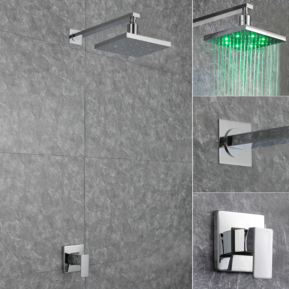 Contemporary LED Square Rain Shower Head Wall Mount Arms with Faucet Shower Mixer