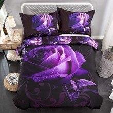 Z.Jian Home Purple Rose Flowers 3D Bedding Duvet Cover Set Bed Set Tween/Queen/King Size Bed Linen Bedclothes Bedding Sets цена 2017