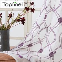Topfinel Wave Pattern Embroidered White Sheer Curtains Window Tulle Curtains for Living Room Bedroom Tulle for Kitchen Door(China)