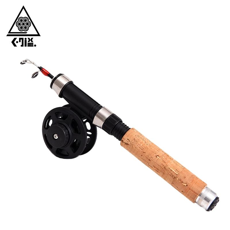Mini Portable Winter Ice Fishing Rod and Reel Set 65cm Telescopic Shrimp Fishing Rod Pole with Fly Fishing Reel 28cm Closed Size