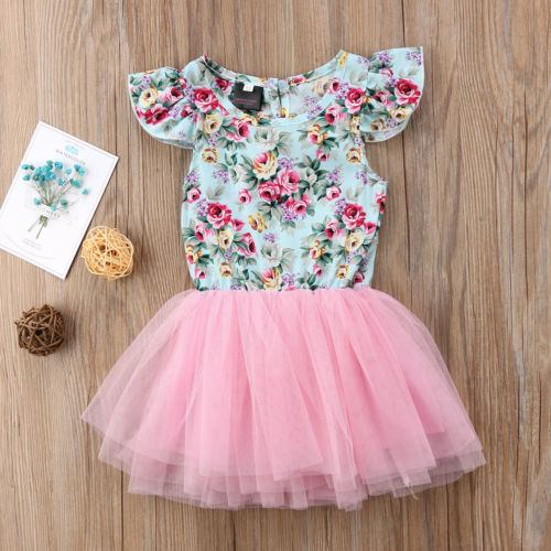 2018 New Sweet Princess Kids Baby Flower Girls Ruffles Dress Children Party  Pink Lace Dress Gown Formal Tutu Tulle Sundress 0-5Y 7915438fa7c8