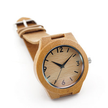 2016 Men Women's Wood Watch Japanese Movement 2035 Bamboo Wooden Watches with Genuine Leather  Wristwatches for Christmas Gifts