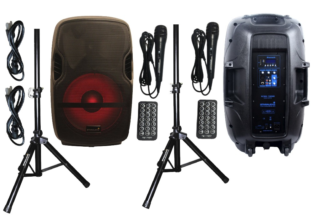 STARAUDIO 2Pcs 152000W Pro PA DJ Stage Club Karaoke Powered Active USB SD BT Speakers W/ LED Light Stands Mics SCSM-15RGB