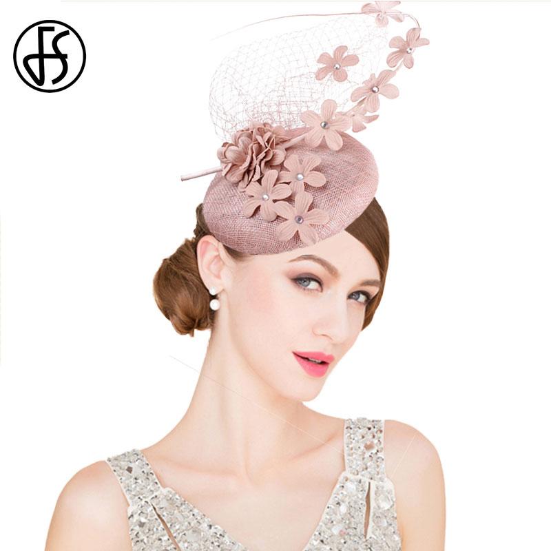 FS Sinamay Womens Fascinators Hats Elegant Pink Wedding Hats Ladies Flower Fedoras Vintage With Veils Headwear Bridal Married