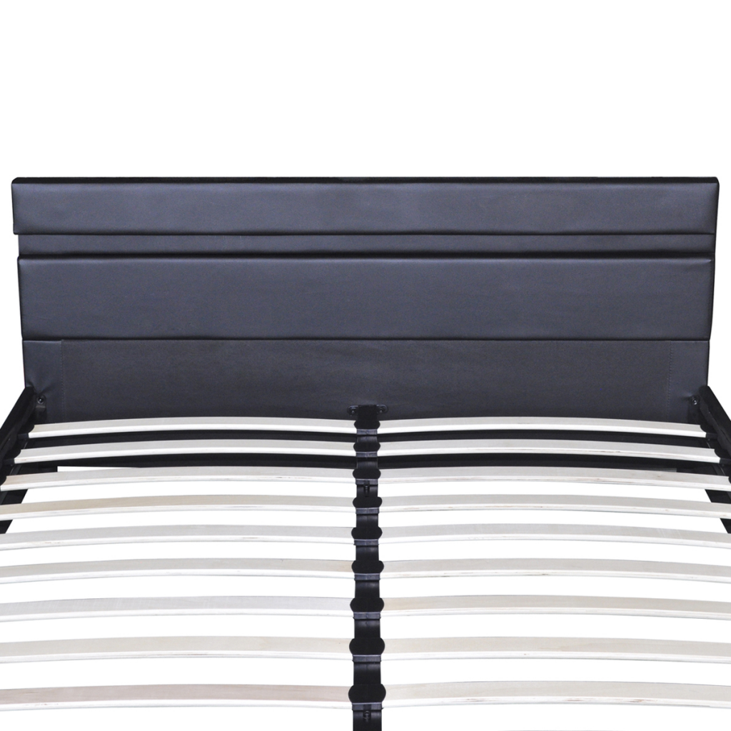 Led Tete De Lit ikayaa wooden bed with artificial leather coating and led