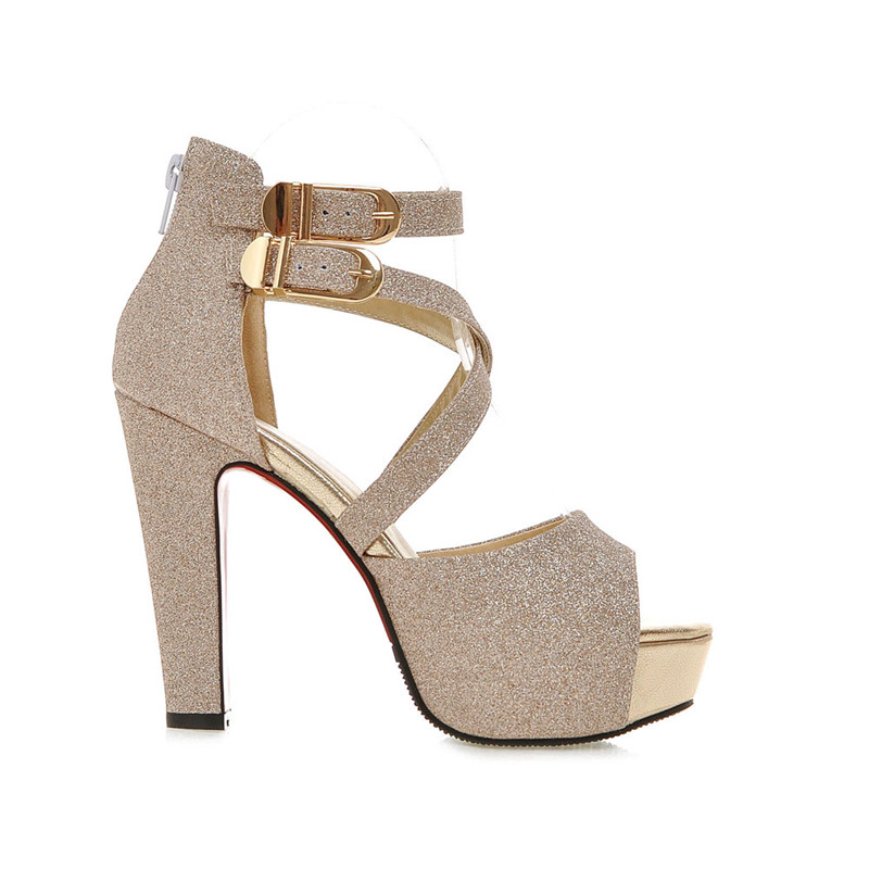 f3f333940 COCOAFOAL Women s High Heels Leather Sandals Woman Silver Golden Shoes  Black Plus Size 32 Party Wedding Women High Heel Sandals - Trendy Shoes  Outlet
