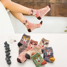 1 Pairs/Lot New Women Socks Cotton Casual Harajuku Deer Striped Personality Wholesale 5 Colors