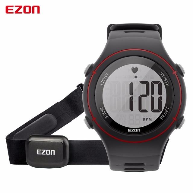 Ezon T037 нагрудный сердечного ритма Мониторы спортивные часы Для мужчин цифровой сигнализации хронограф Водонепроницаемый подсветкой электронной Наручные часы