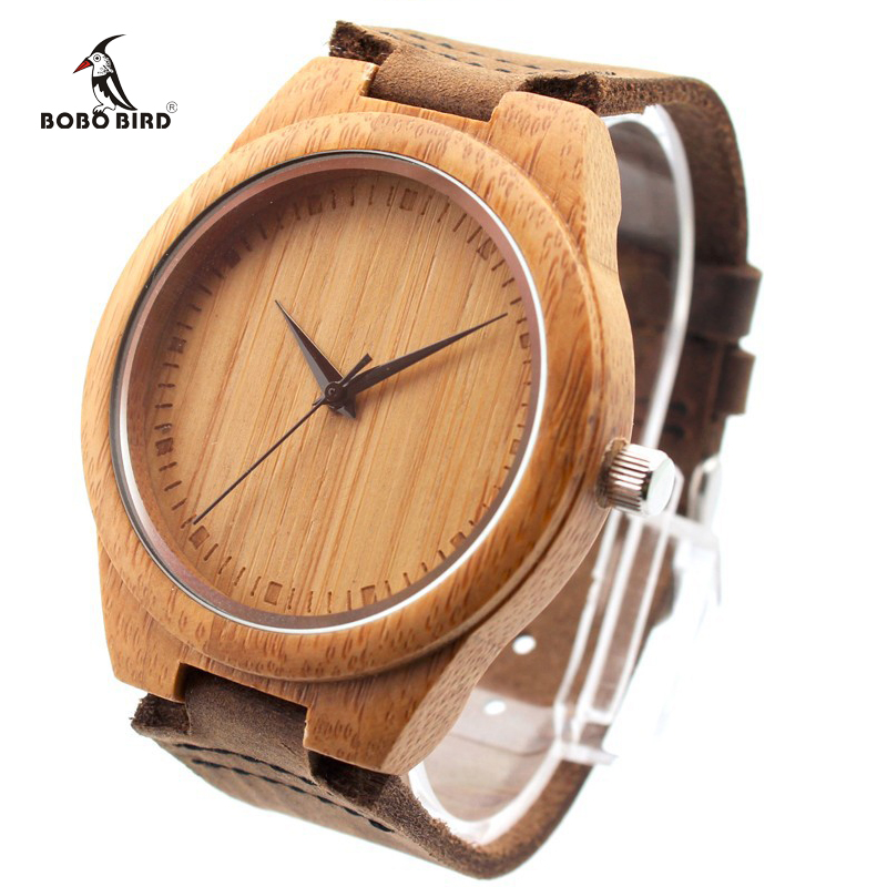 BOBO BIRD Brand Bamboo Watches Japan 2035 Move Wood Wristwatches with Genuine Leather Band as Gifts