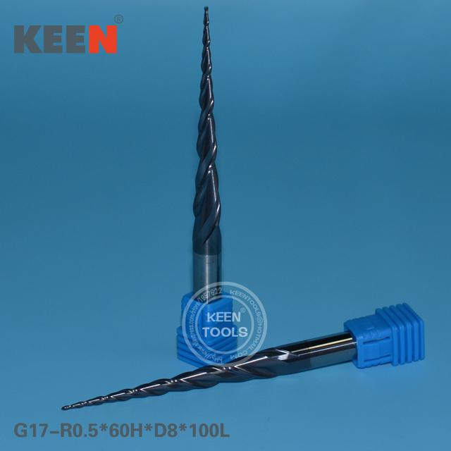 R0.5 * 60 H * D8 * 100L Importado Ferramenta de Carboneto de Tungstênio, HRC55 Bola Carpintaria Router Bit para Alívio 3D
