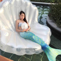 Adults Giant Pool Float Pearl Scallops Inflatable Shell Floating Mattress Lounger With Handle Decoration Pearl Ball Floating