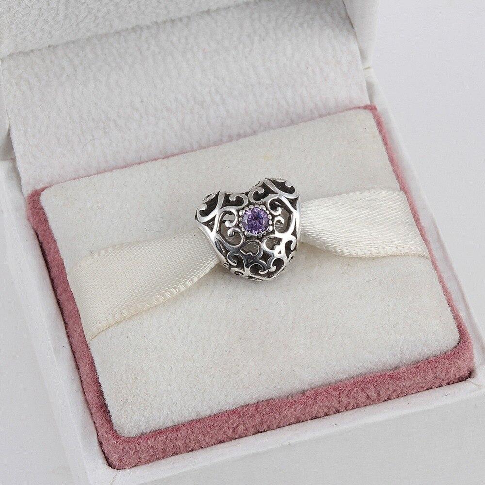 925 Sterling Silver Cuore febbraio Birthstone Incanta I Branelli Adatto Pandora Charms Bracelet 12 Mesi Colore Sceglie