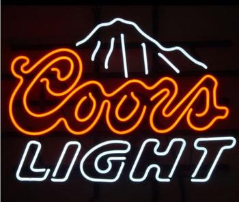 Custom COORS LIGHT MOUNTAINS Glass Neon Light Sign Beer Bar